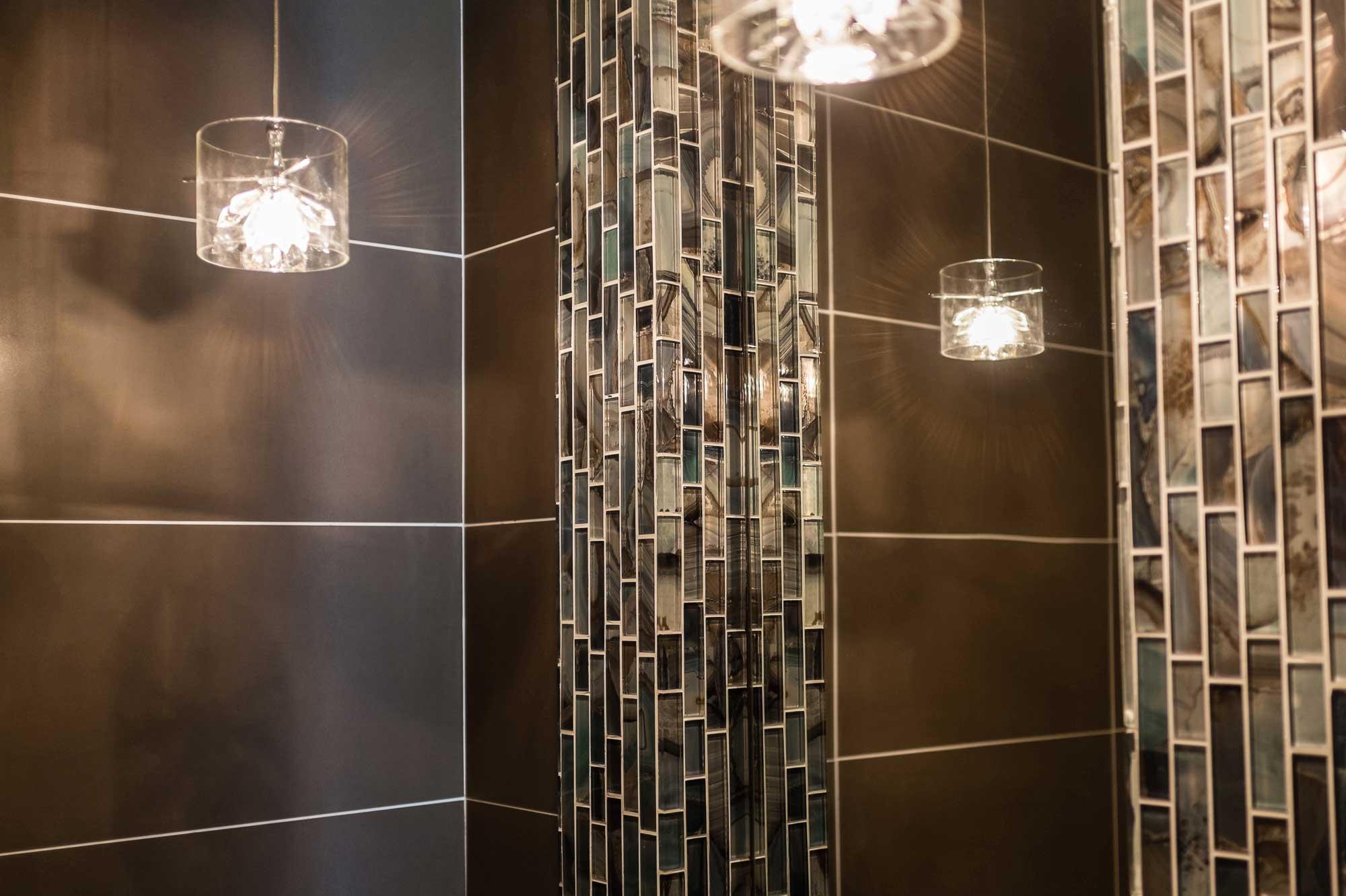 Dark porcelain tile design with white grout| Trevor Pan Architects